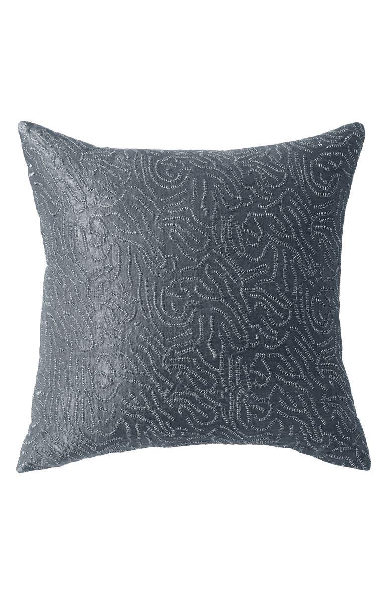 DONNA KARAN NEW YORK Current Metallic Sashiko Accent Pillow, Main, color, GREY