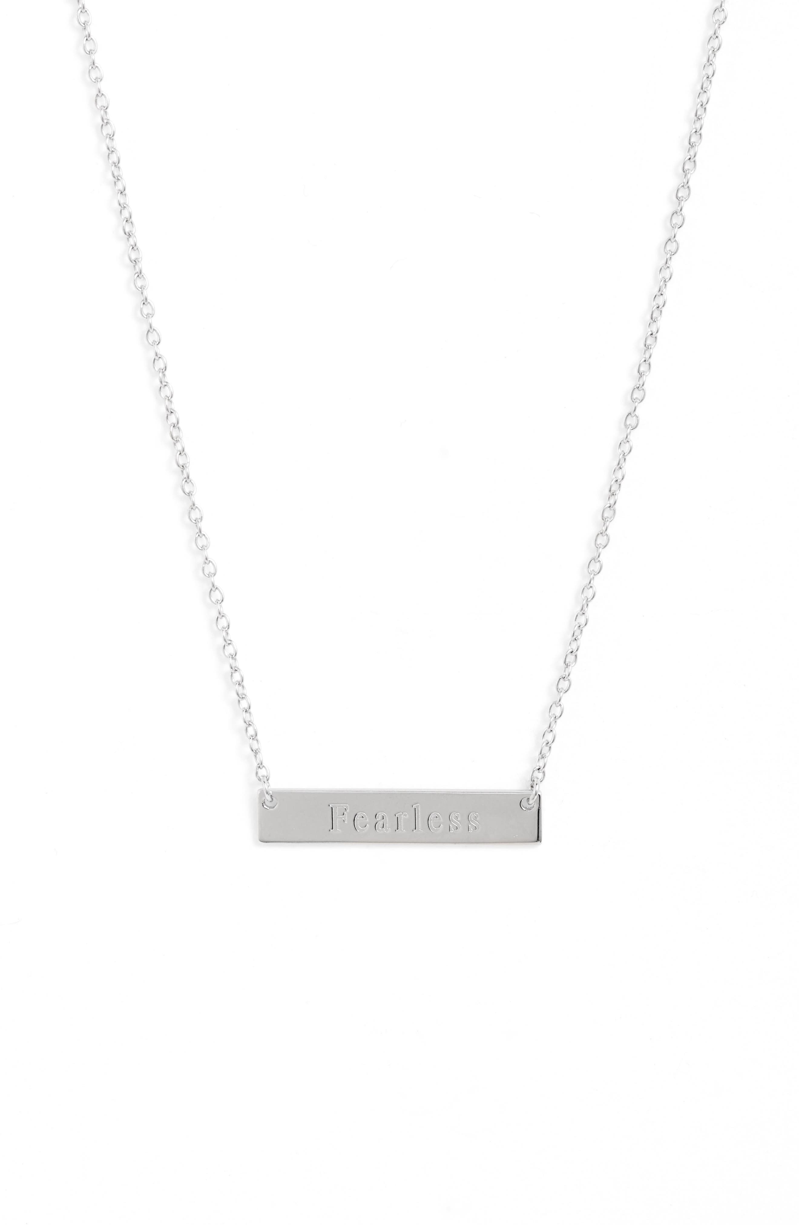 A simple design featuring a gleaming bar pendant embossed with an inspiring message defines this understated necklace. Style Name: Sterling Forever Fearless Bar Pendant Necklace. Style Number: 5904764. Available in stores.