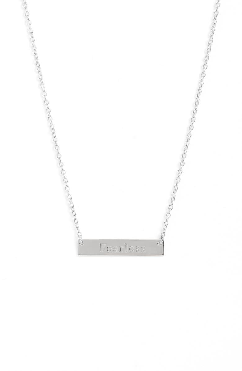 STERLING FOREVER Fearless Bar Pendant Necklace, Main, color, 040