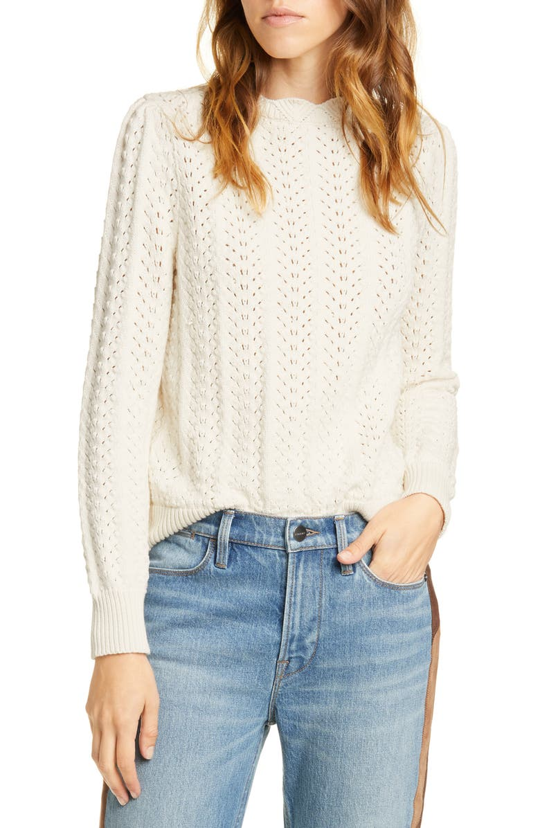 FRAME Pointelle Petal Sweater, Main, color, OFF WHITE