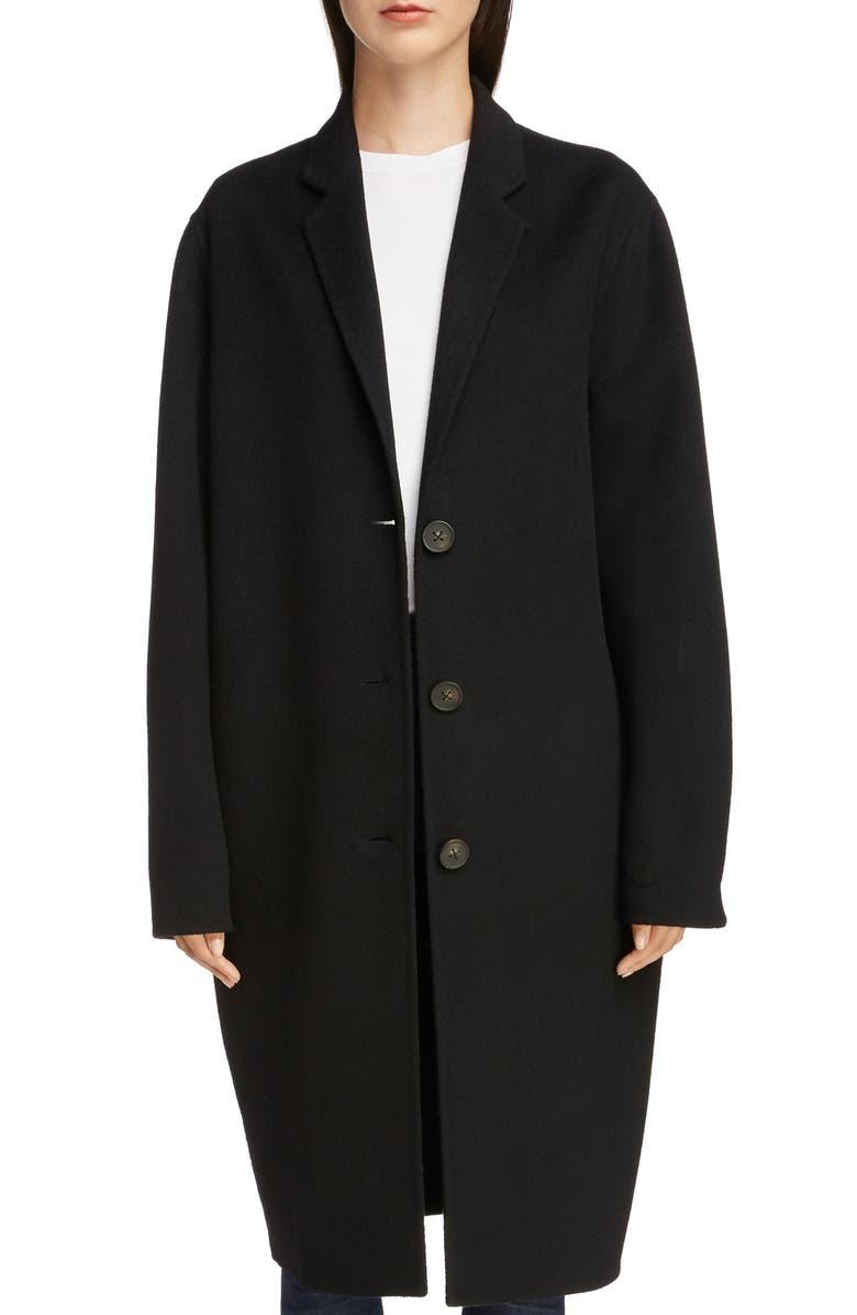 ACNE STUDIOS Double Wool Coat, Main, color, 001