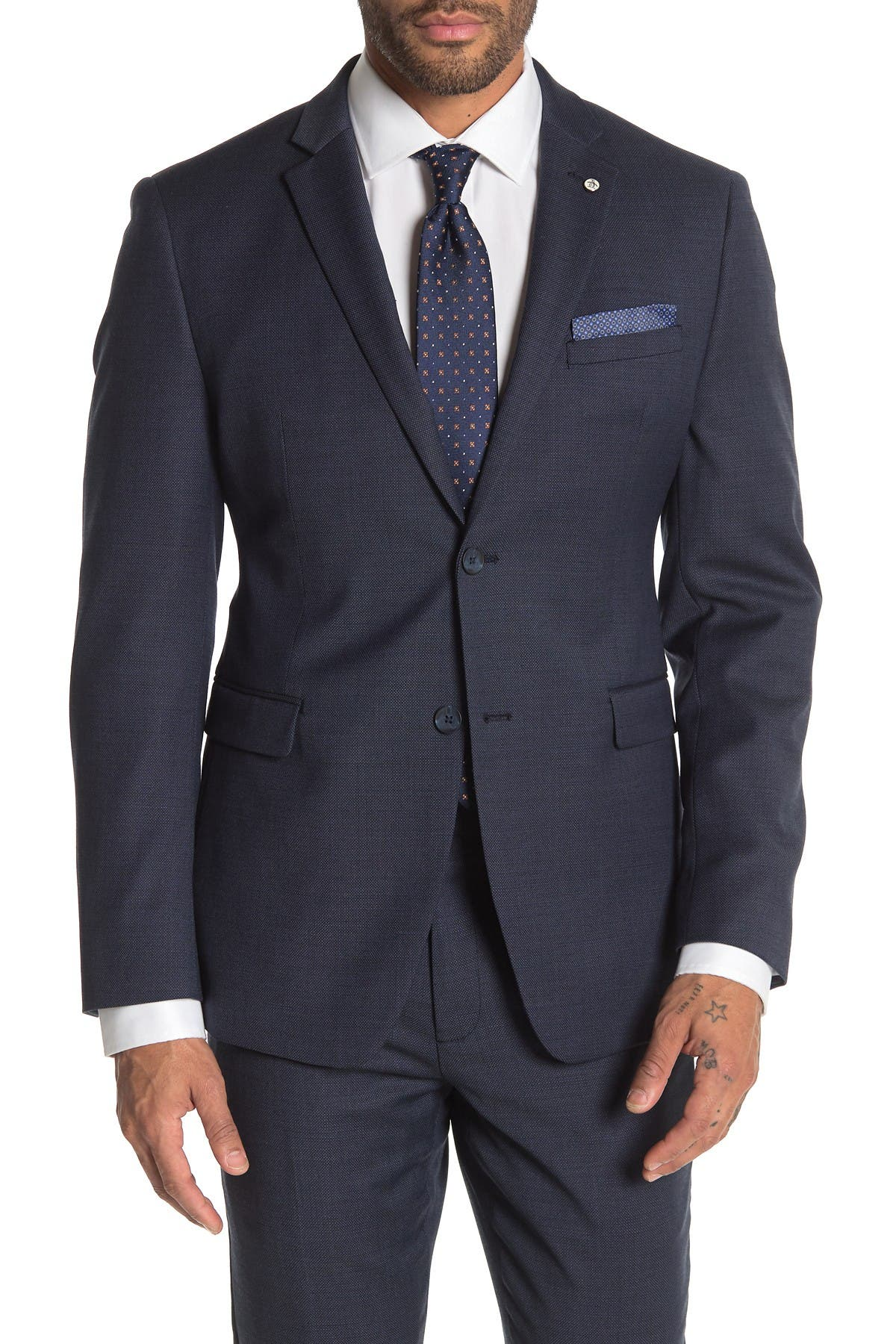 Image of Original Penguin Blue Birdseye Two Button Notch Lapel Slim Fit Suit Separates Jacket