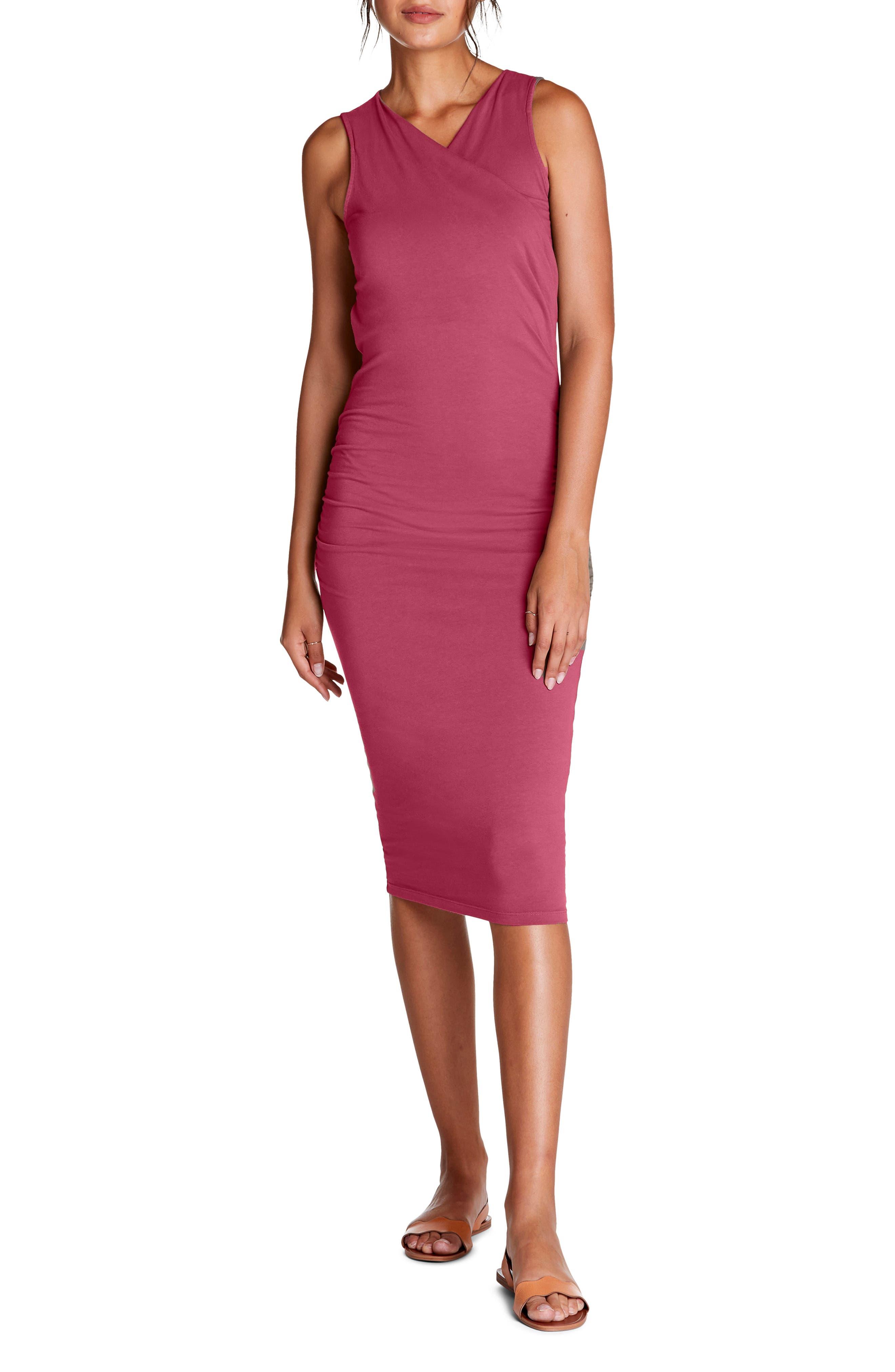 Michael Stars Faux Wrap Midi Dress, Pink