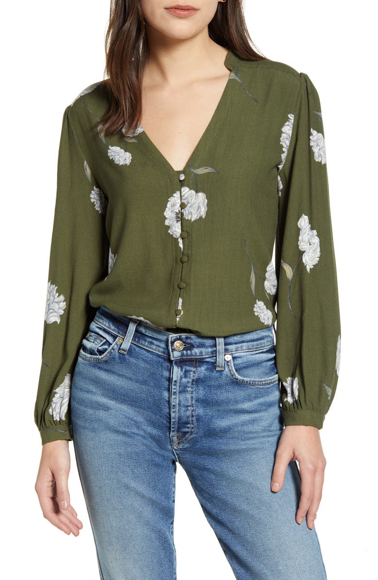 CUPCAKES AND CASHMERE Alma Long Sleeve Floral V-Neck Top, Main, color, DARK OLIVE