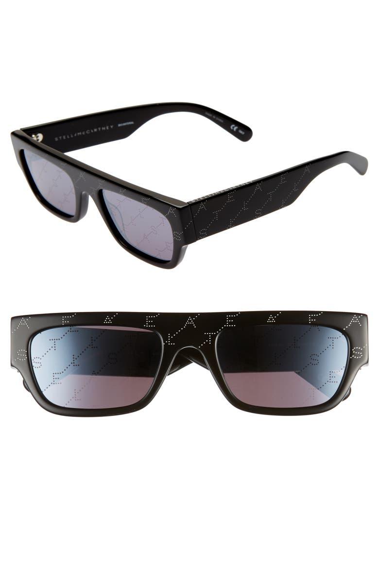 STELLA MCCARTNEY 54mm Flat Top Sunglasses, Main, color, BLACK/ SILVER MIRROR