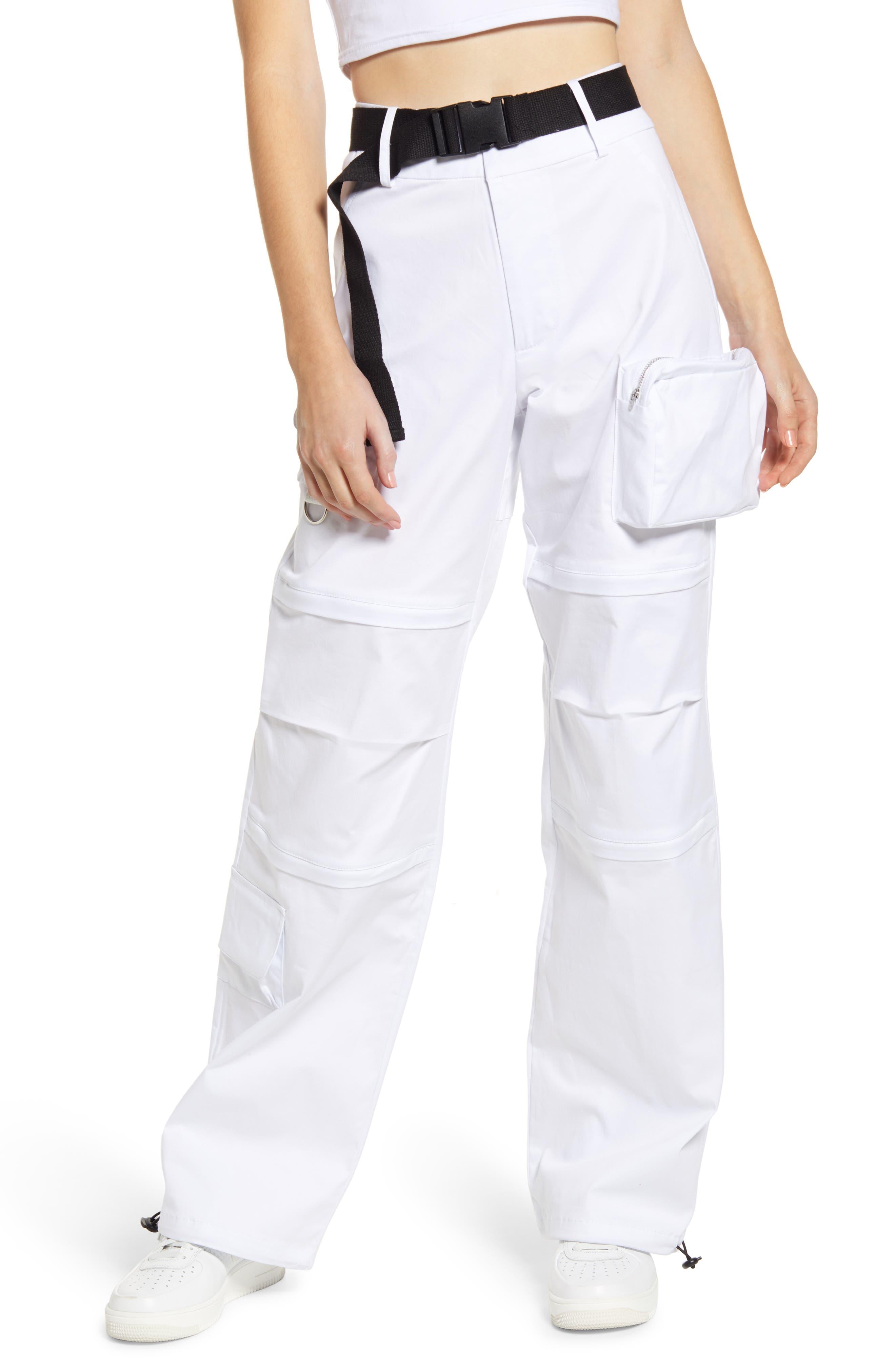 I.am. gia. Edam High Rise Cargo Pants With Webbed Belt, White