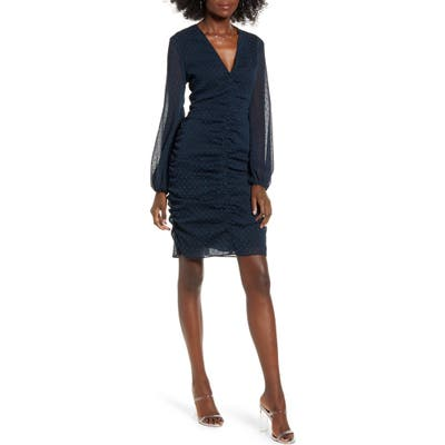 Leith Clip Dot Long Sleeve Shirred Minidress, Black