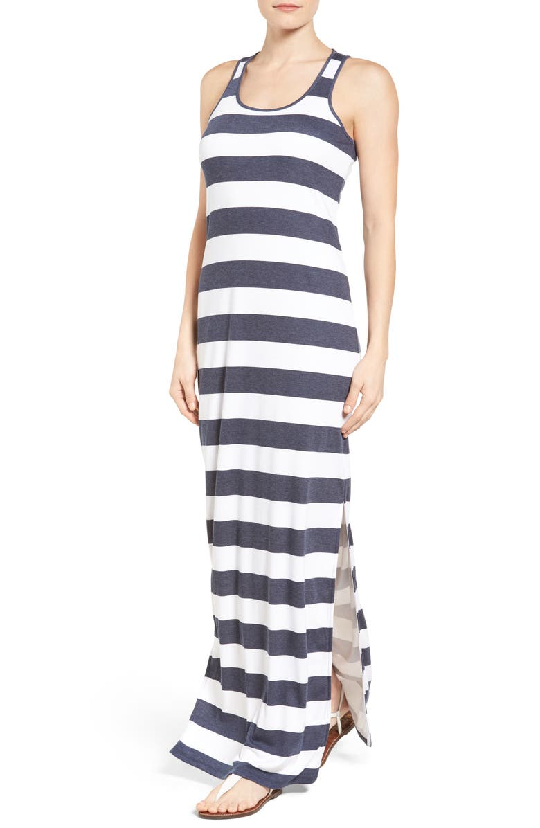 MICHAEL MICHAEL KORS Rugby Stripe Tank Maxi Dress, Main, color, 427