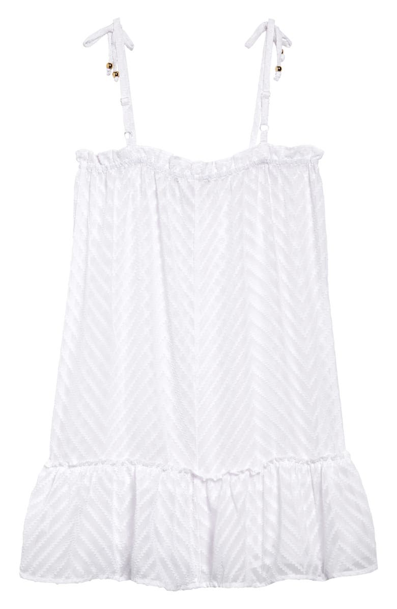 MIKEN SWIM Chevron Textured Chiffon Cover-Up Dress, Main, color, WHITE
