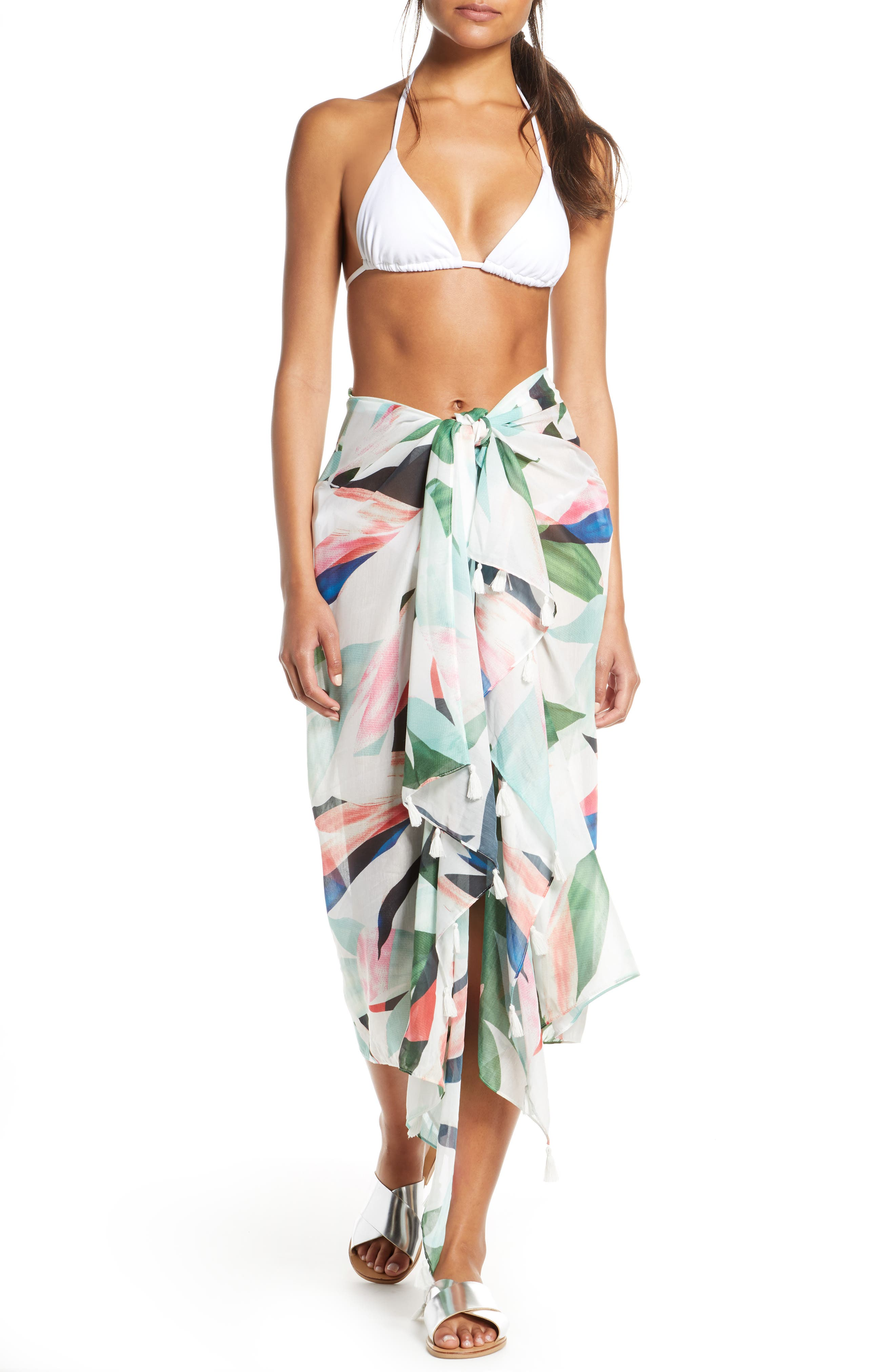 Pool To Party Birds Of Paradise Cover-Up Sarong, Size One Size - Ivory
