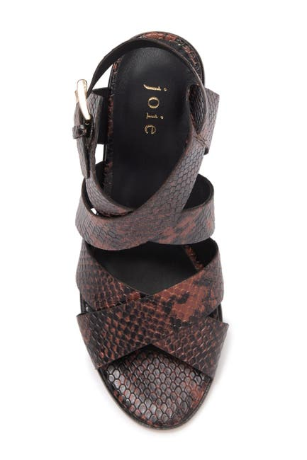 Image of Joie Avery Snake Embossed Leather Block Heel Sandal