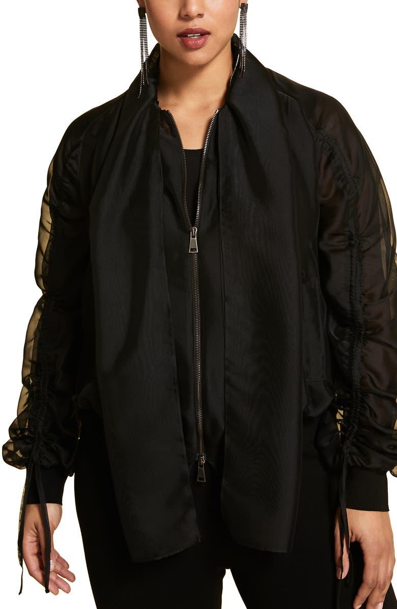 MARINA RINALDI Fato Organza Bomber Jacket, Main, color, BLACK