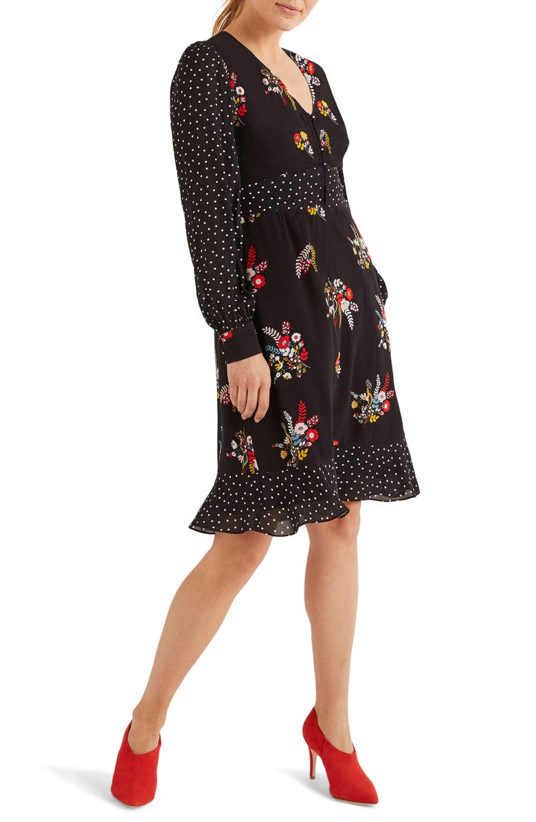 BODEN Ivy Long Sleeve Mixed Print Dress, Main, color, BLACK COUNTRY POSY