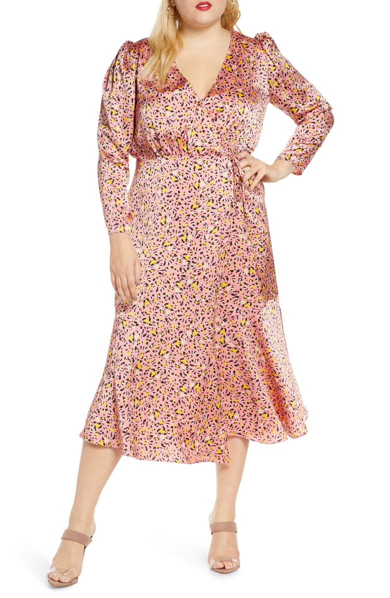 Pink Leopard Print Long Sleeve Satin Wrap Dress