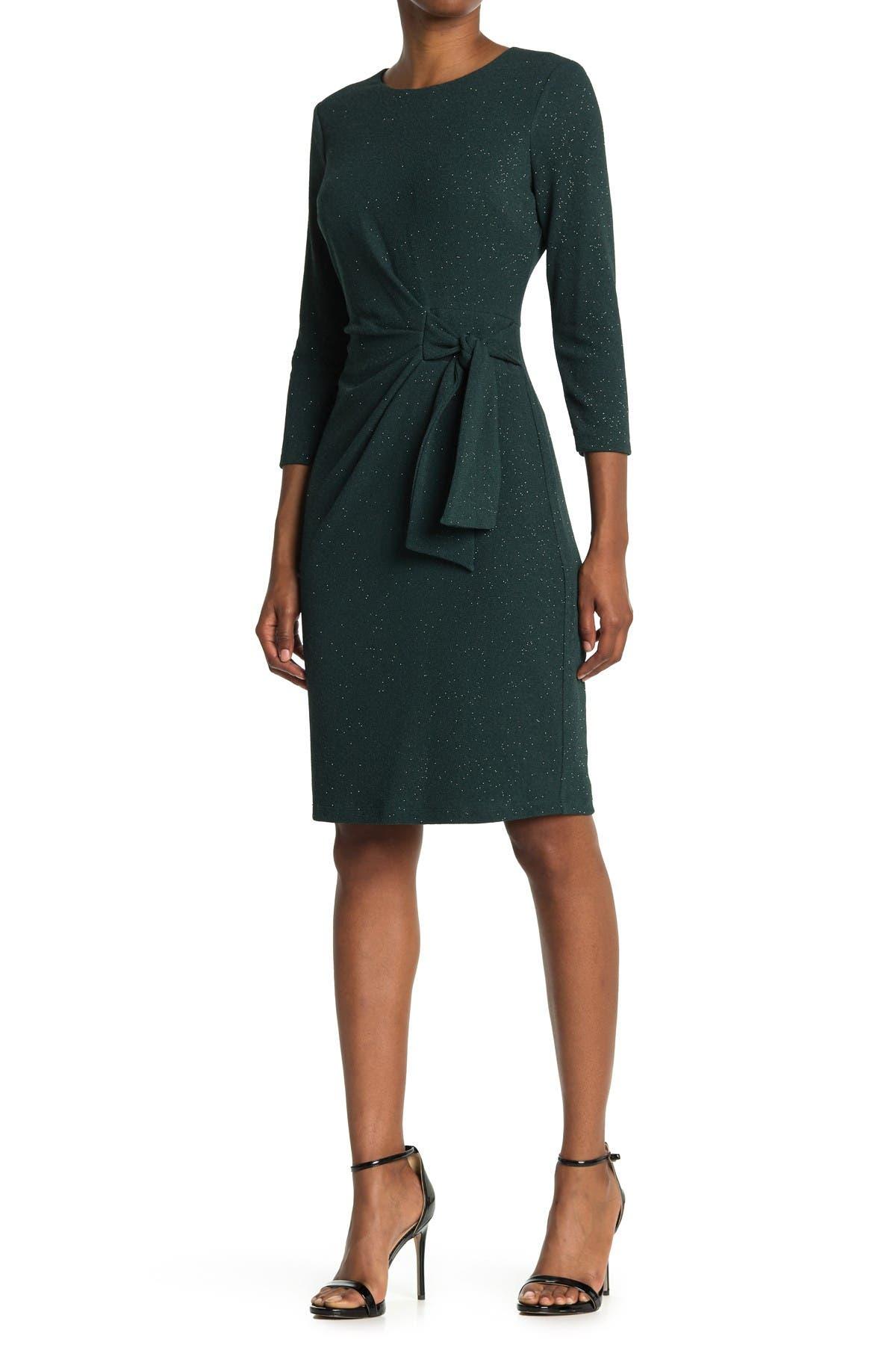 Image of London Times Glitter Knit Side Tie Sheath Dress