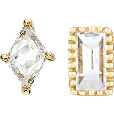 Sethi Couture Baguette Marquis Diamond Mismatched Stud Earrings