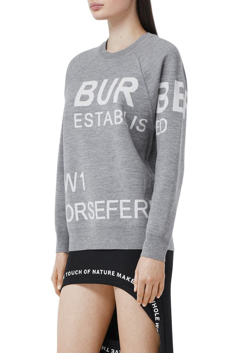 BURBERRY Horseferry Intarsia Merino Wool Blend Sweater, Main, color, GREY MELANGE