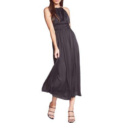 Bardot Silvana Satin Midi Dress, Black