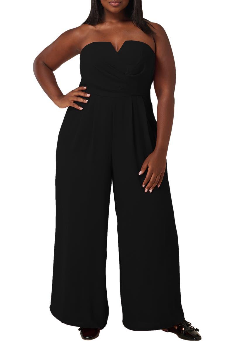 MARÉE POUR TOI The Magic Strapless Jumpsuit, Main, color, BLACK