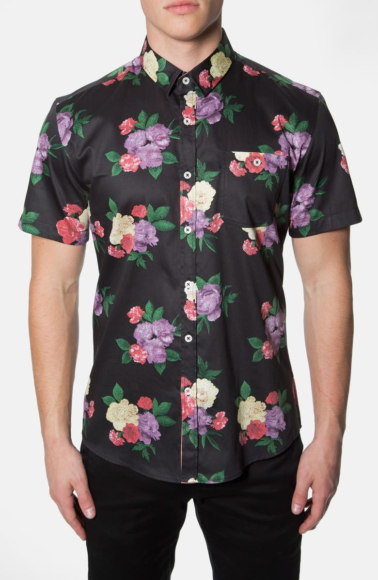 7 DIAMONDS 'Wallflower' Trim Fit Short Sleeve Floral Print Woven Shirt, Main, color, 001