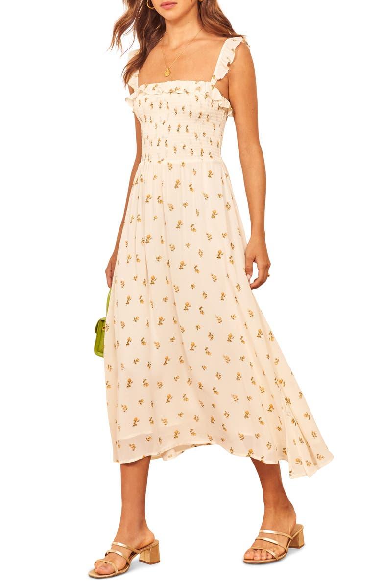 REFORMATION Siesta Midi Dress, Main, color, 100
