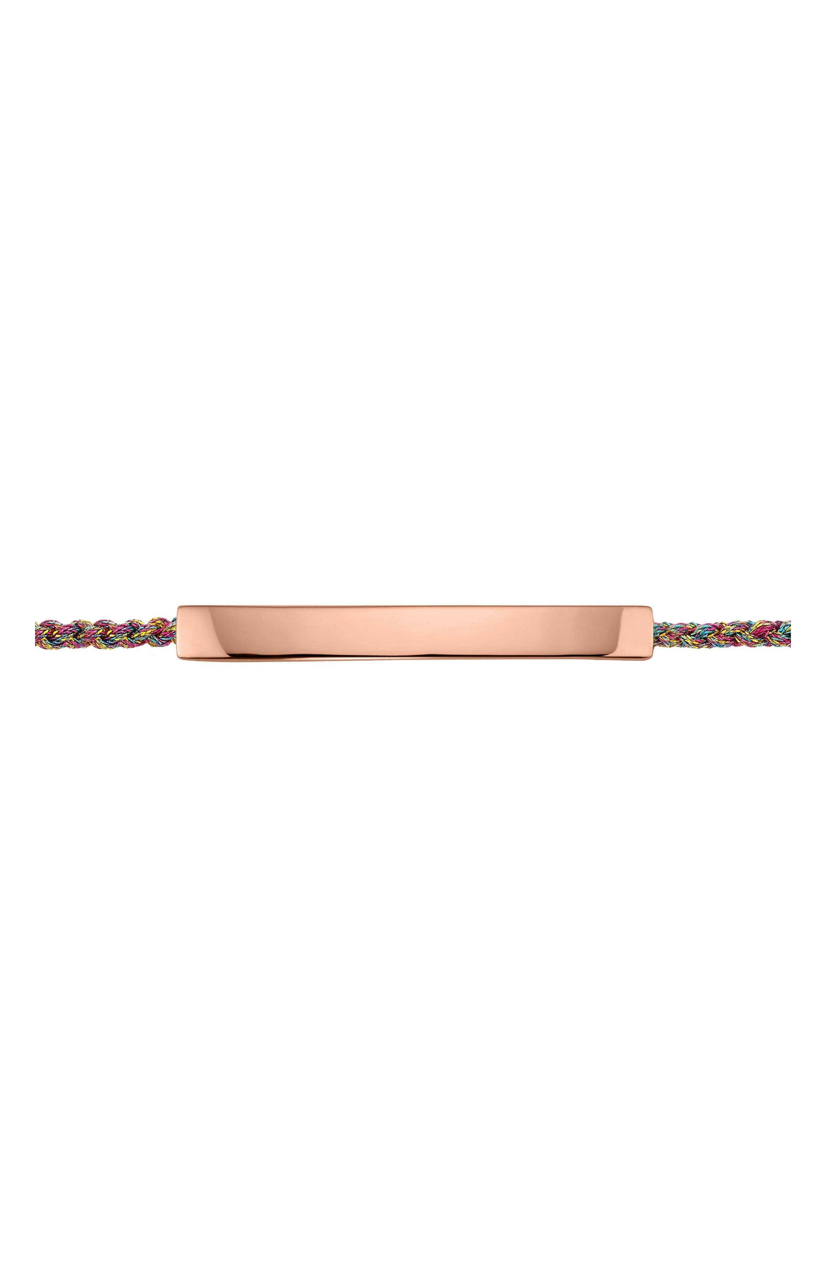 ,                             Engravable Linear Friendship Bracelet,                             Alternate thumbnail 3, color,                             ROSE GOLD/ RAINBOW