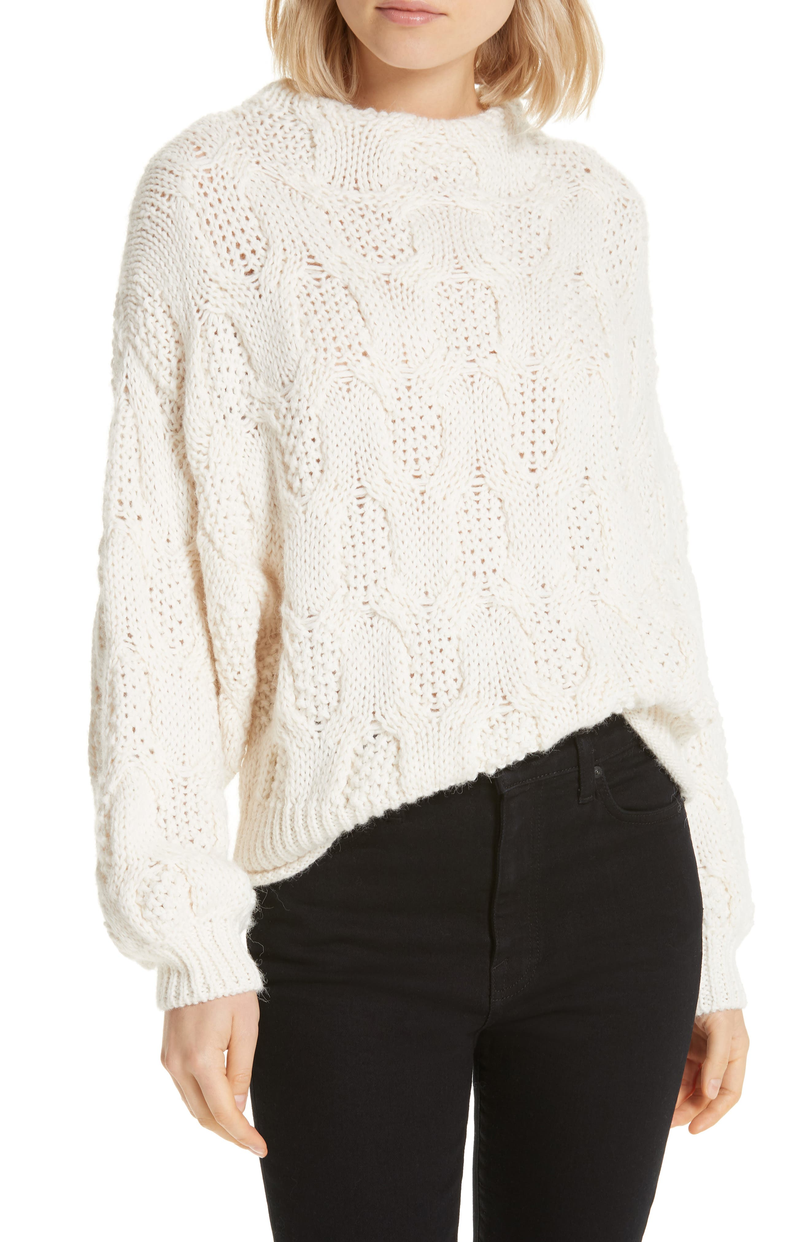 Cable Knit Alpaca Wool Blend Sweater, Main, color, 900