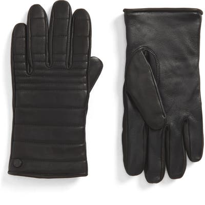 Canada Goose Quilted Leather Gloves With Faux Fur Lining