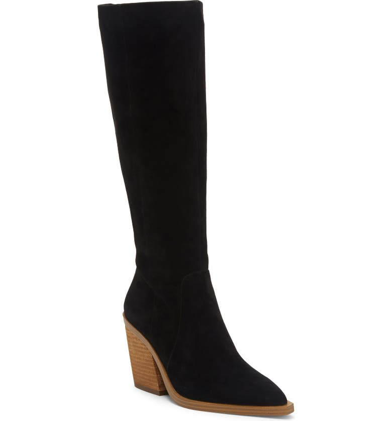 VINCE CAMUTO Gravana Knee High Boot, Main, color, BLACK SUEDE