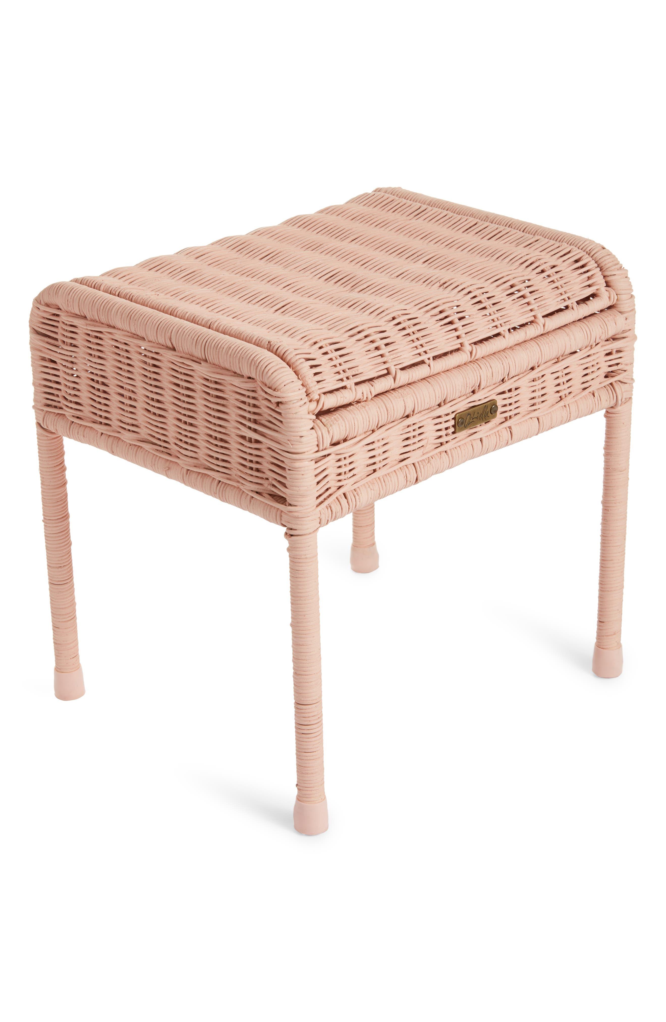 Olli Ella Storie Stool Rattan Storage Seat Size One Size  Pink