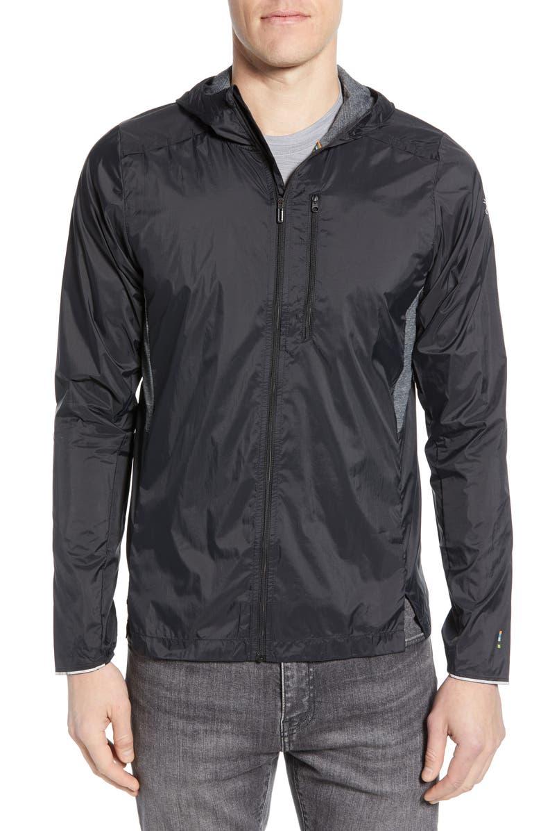 SMARTWOOL Sport Ultralight Water Resistant Hooded Jacket, Main, color, BLACK