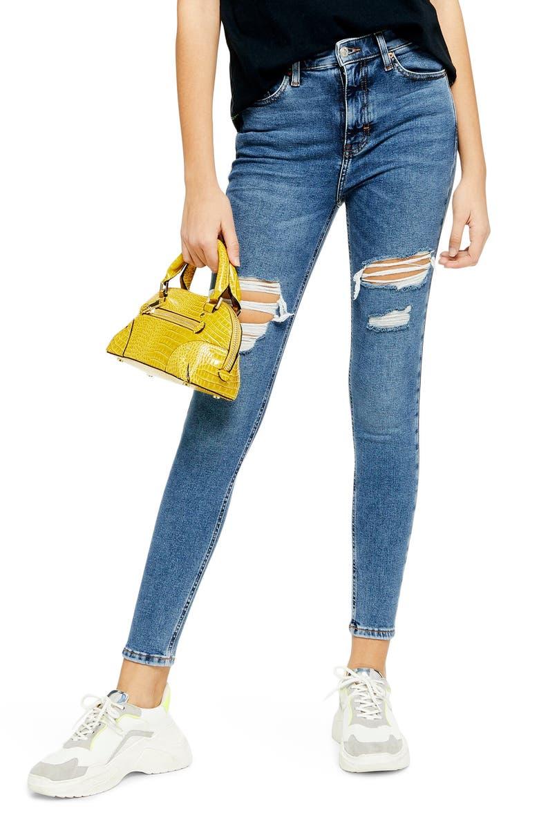TOPSHOP Jamie Thigh Rip Jeans, Main, color, MID DENIM