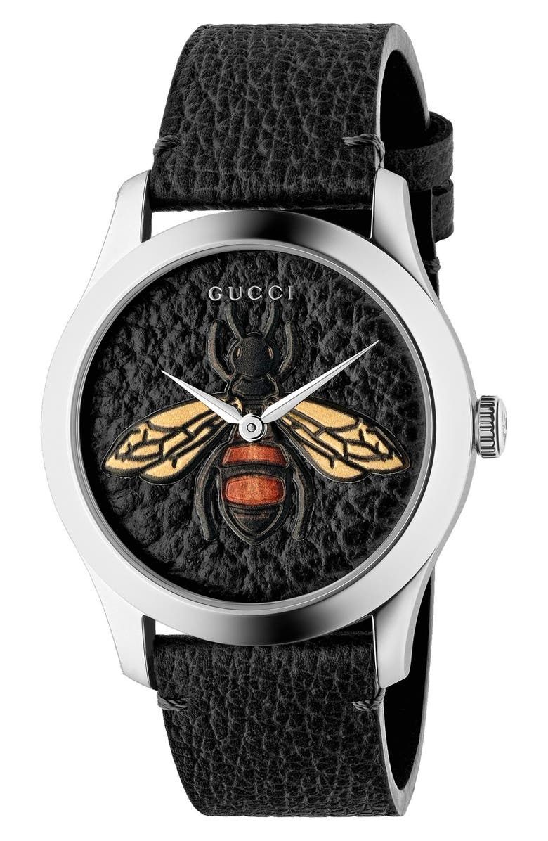 GUCCI G-Timeless Leather Strap Watch, 38mm, Main, color, 012
