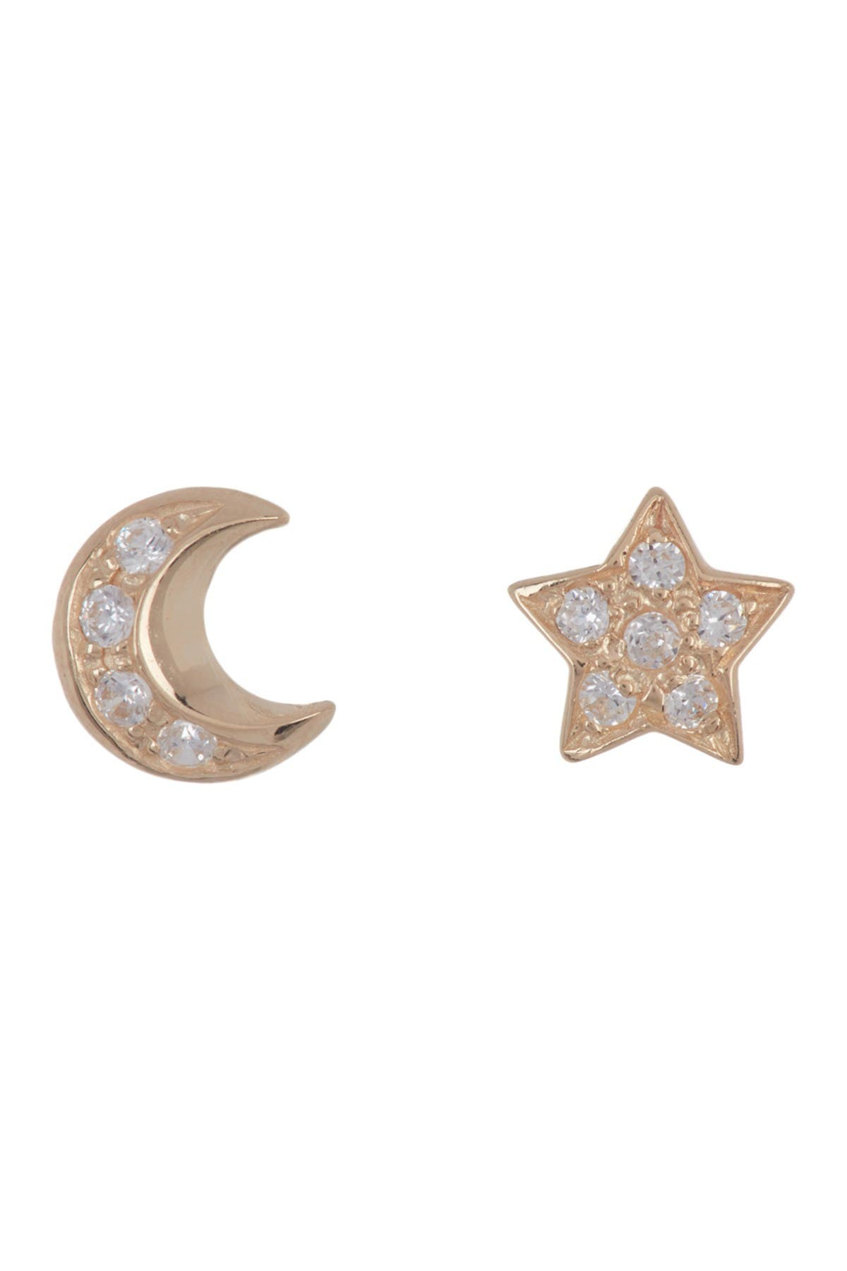Image of Candela 14K Yellow Gold CZ Star & Moon Stud Earrings