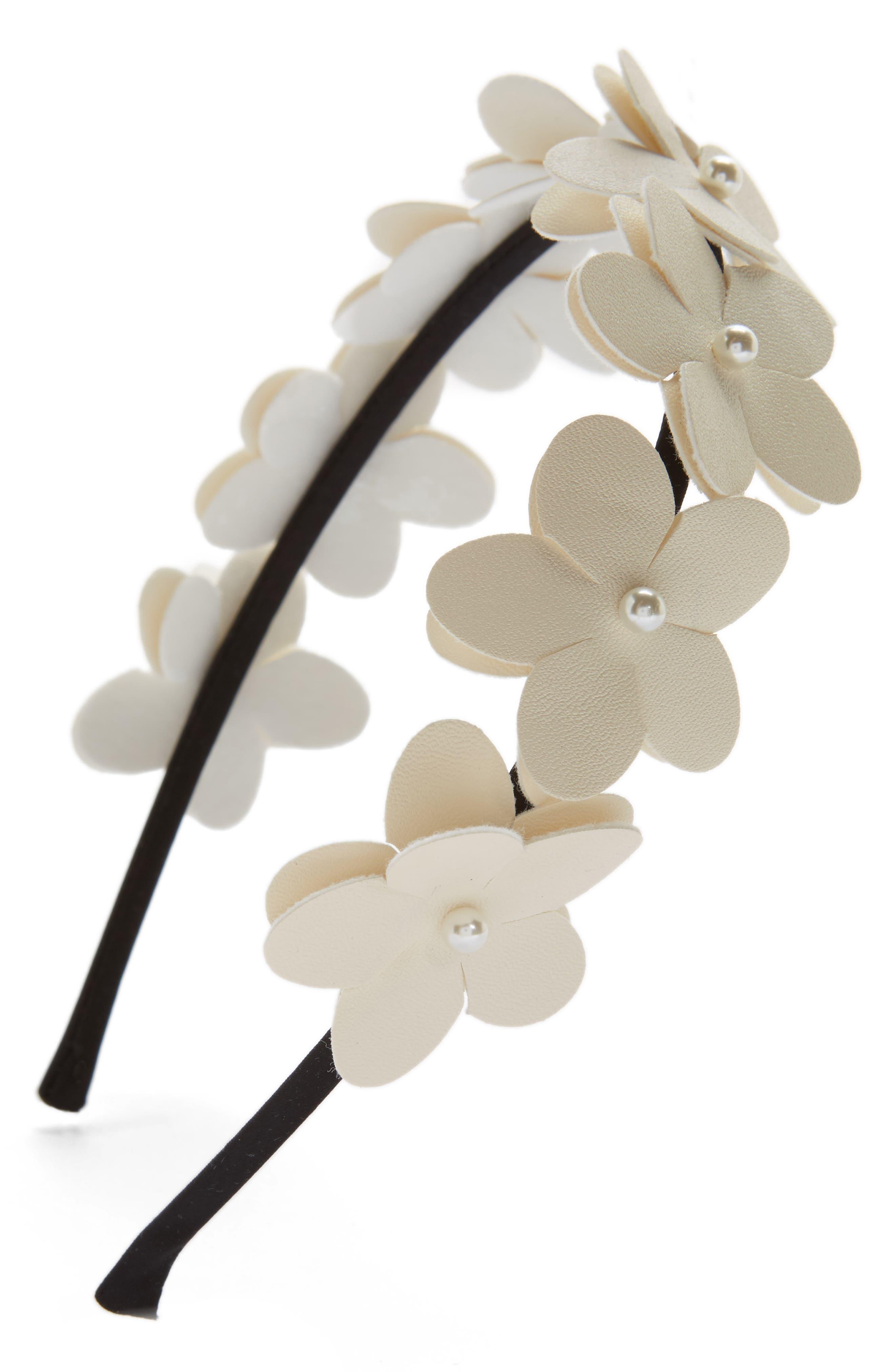 ,                             Faux Leather Flower Headband,                             Main thumbnail 5, color,                             900