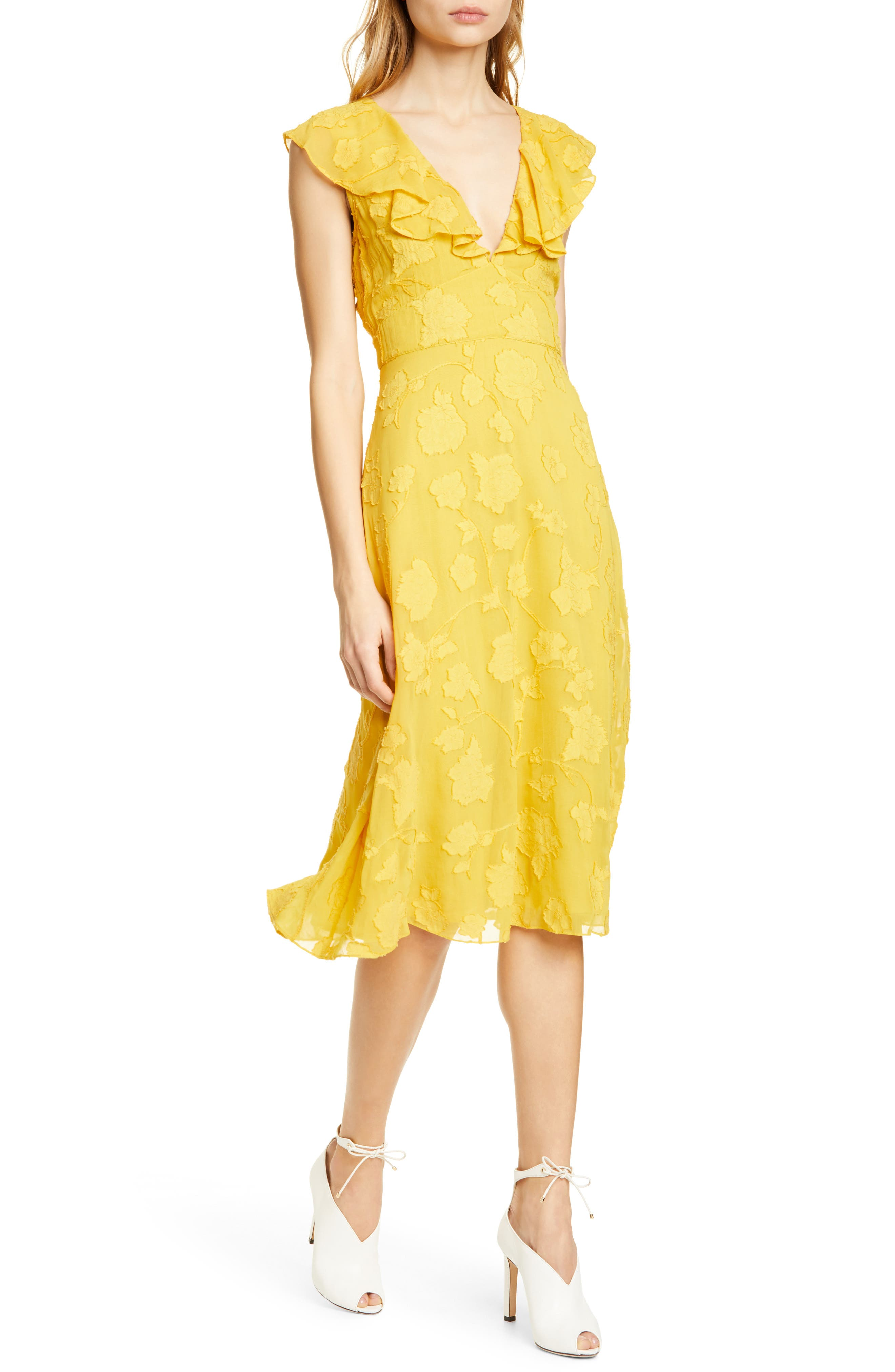 Joie Adella Burnout Dress, Yellow