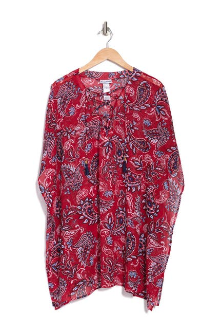 Image of Tommy Bahama Island Paisley Lace-Up Tunic