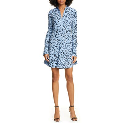 A.l.c. Marcella Leopard Print Long Sleeve Silk Minidress, Blue