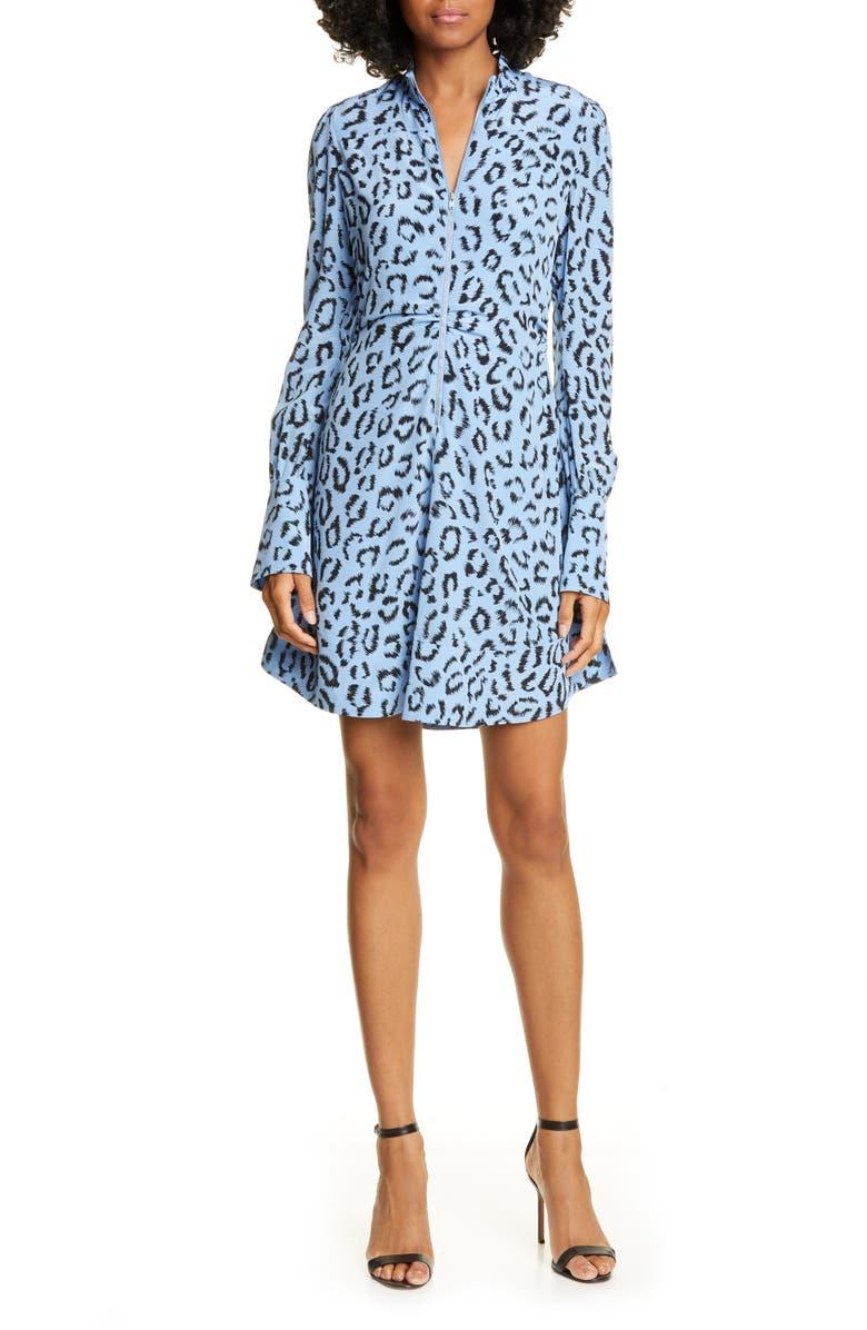 A.L.C. Marcella Leopard Print Long Sleeve Silk Minidress, Main, color, BLUE/ BLACK