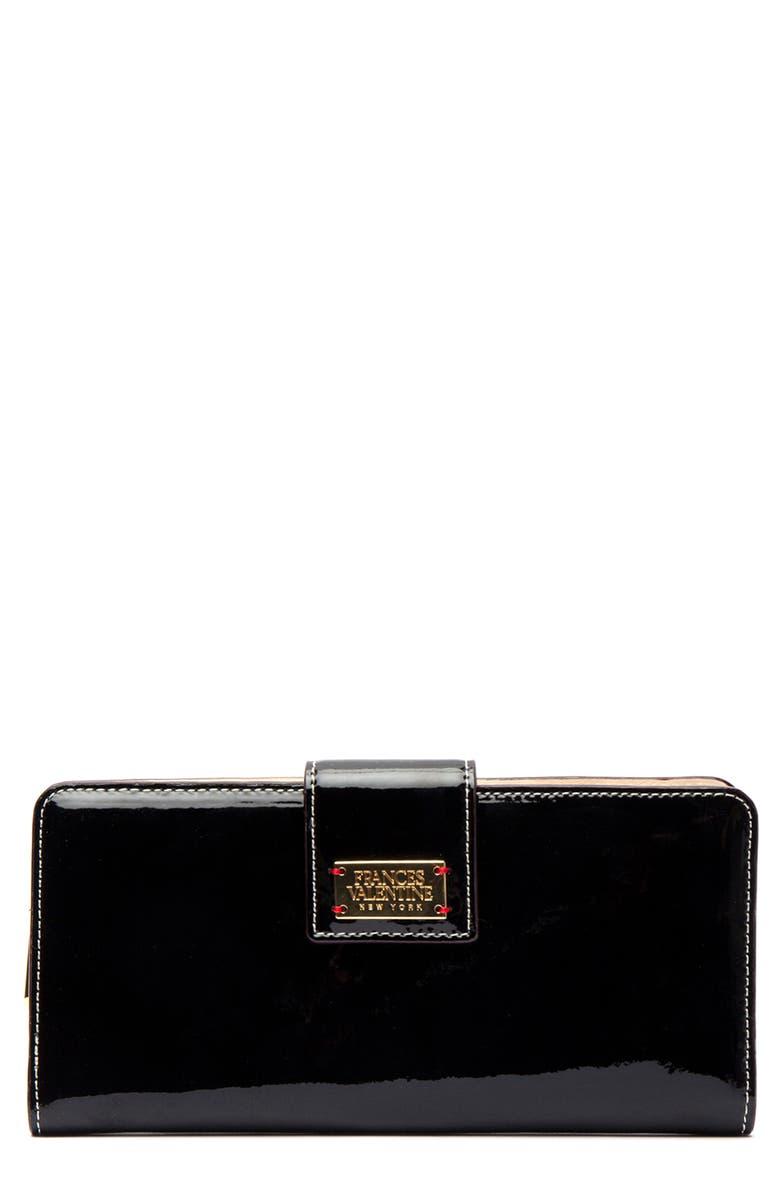 FRANCES VALENTINE Slim Leather Wallet, Main, color, BLACK/ OYSTER