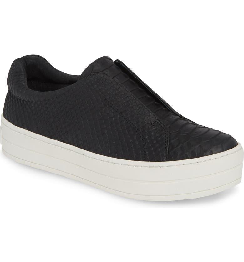 JSLIDES Heidi Platform Slip-On Sneaker, Main, color, BLACK EMBOSSED LEATHER