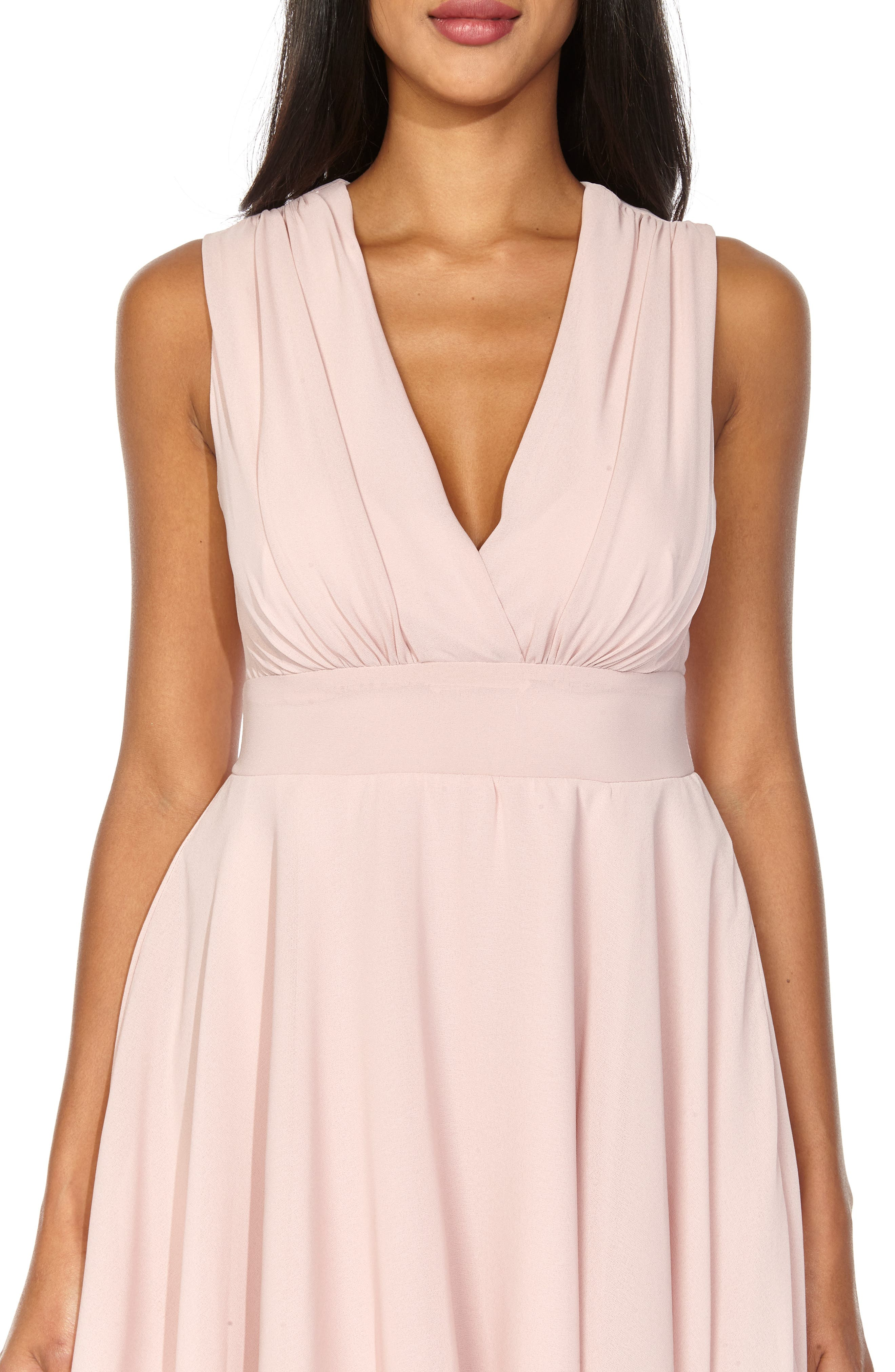 ,                             V-Neck Fit & Flare Dress,                             Alternate thumbnail 4, color,                             DUSTY PINK