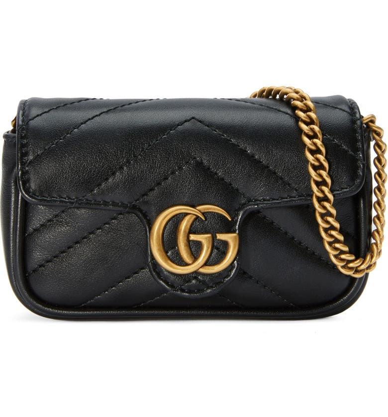 GUCCI GG Marmont 2.0 Quilted Leather Coin Purse on a Chain, Main, color, NERO/ NERO