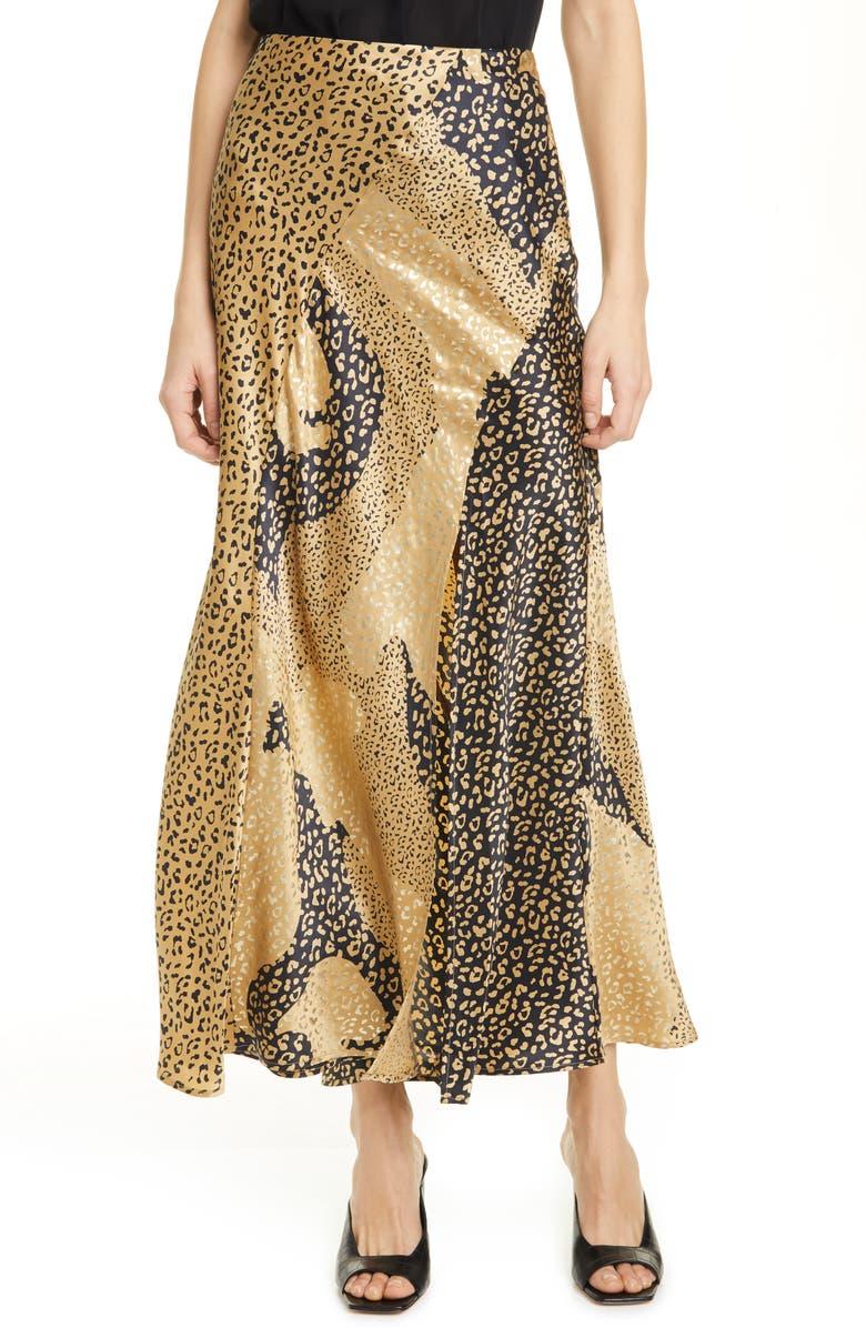 RIXO Parker Leopard Print Silk Maxi Skirt, Main, color, GOLD PATCHWORK LEOPARD MIX