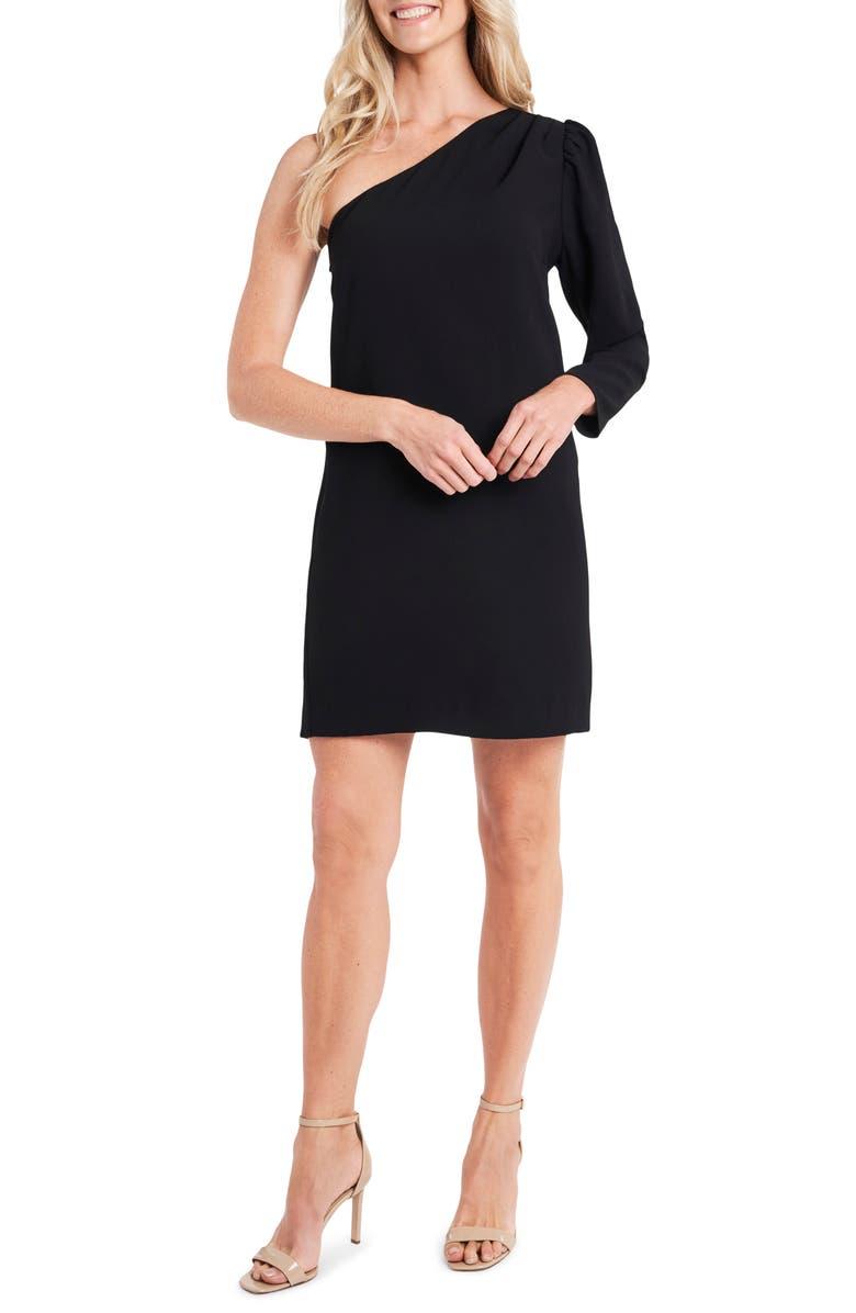 CECE One-Shoulder Moss Crepe Dress, Main, color, RICH BLACK