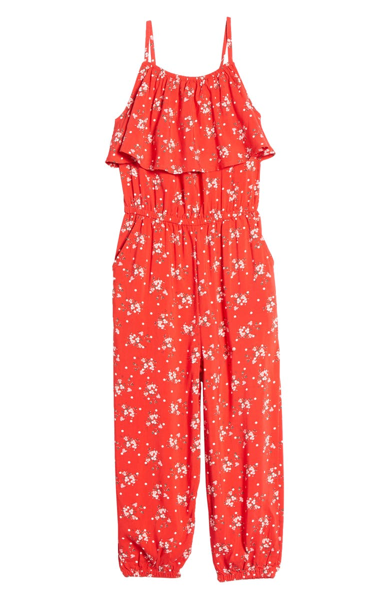 TUCKER + TATE Tie Waist Romper, Main, color, RED BLOOM DOTTED DITSY