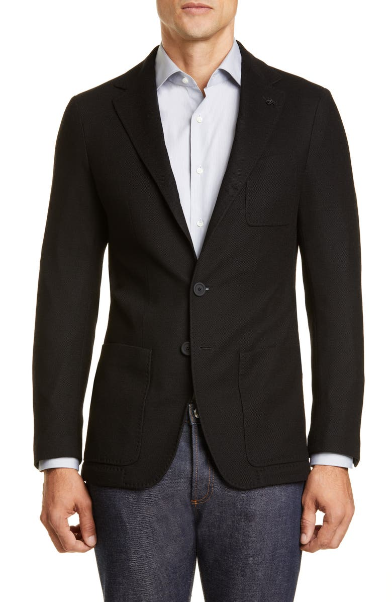CANALI Black Edition Classic Fit Solid Knit Wool Sport Coat, Main, color, BLACK