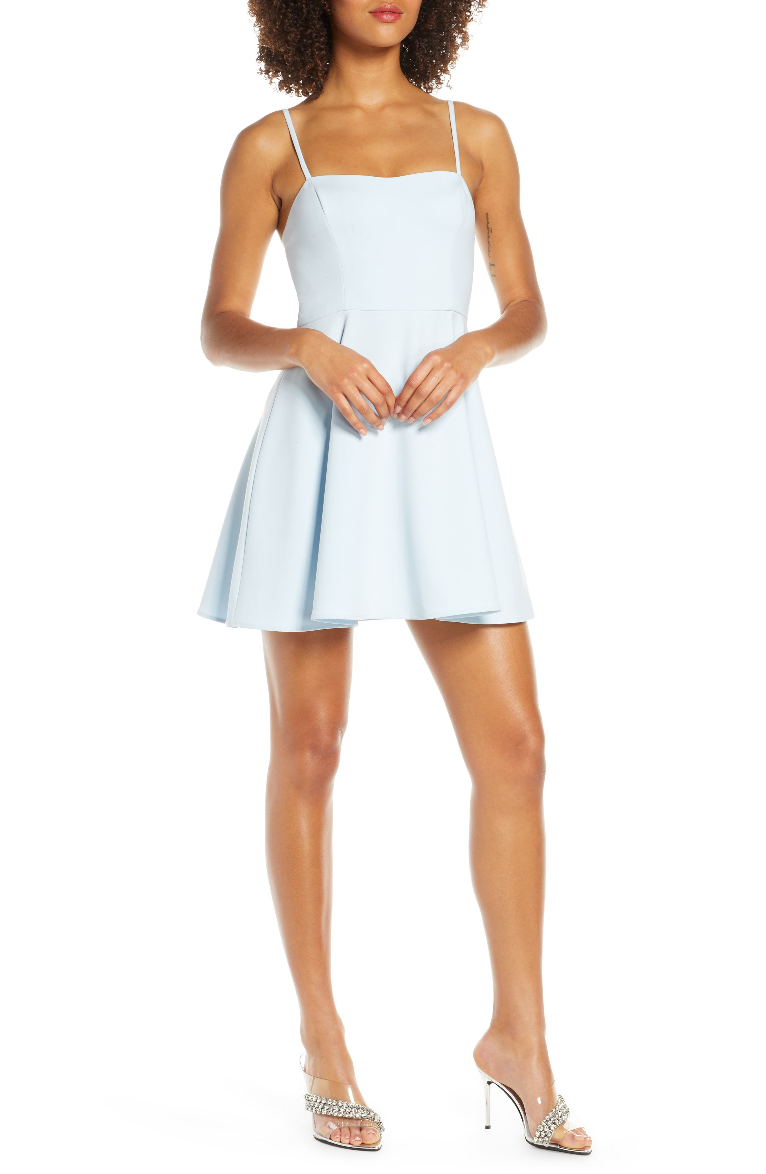 French Connection Sweetheart Neck Fit & Flare Minidress, Blue