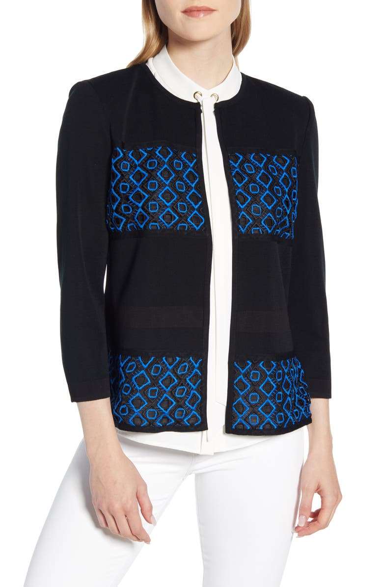 MING WANG Embroidered Knit Jacket, Main, color, 018
