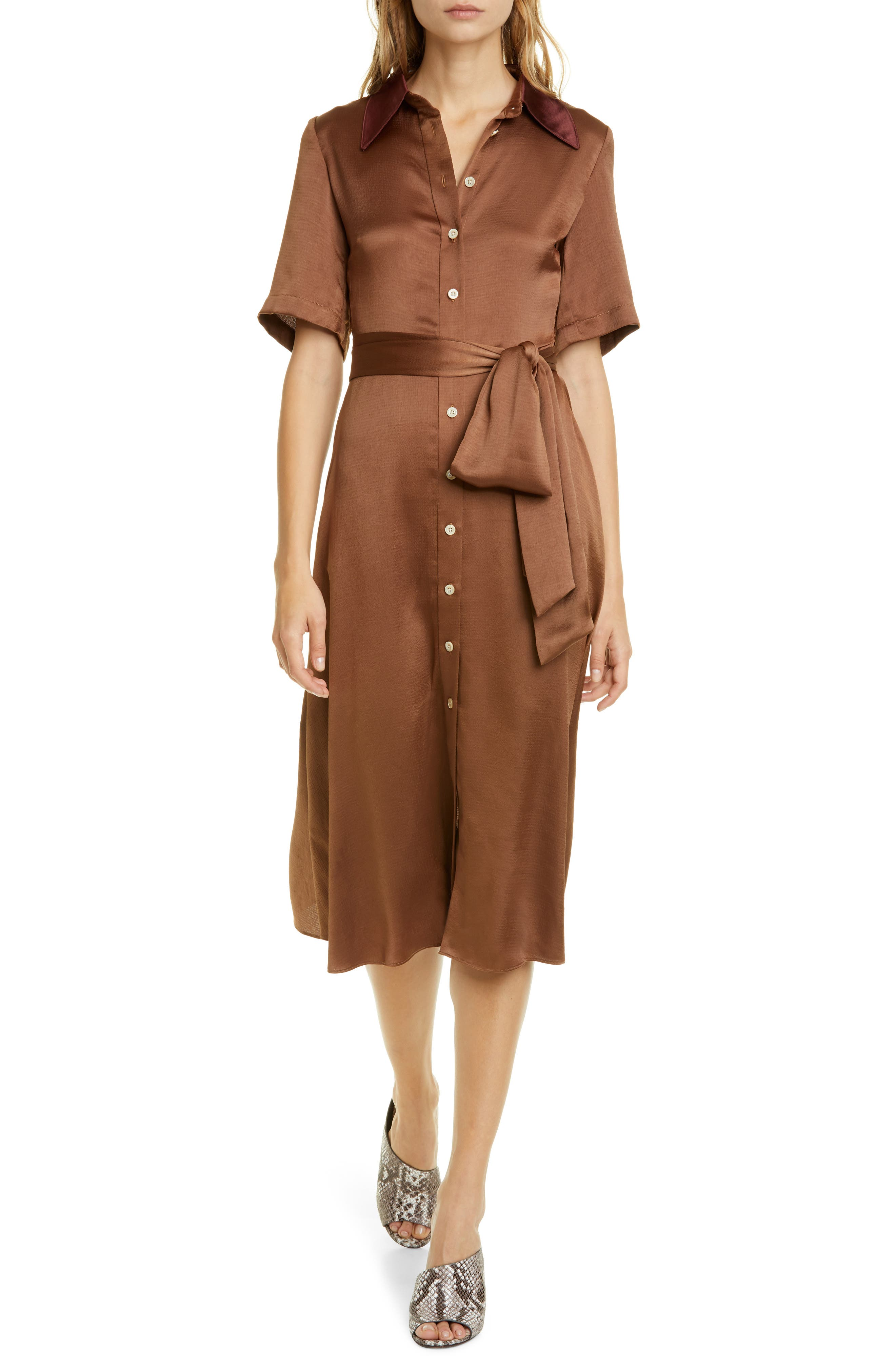 Kate Spade New York Dresses smocked back satin shirtdress